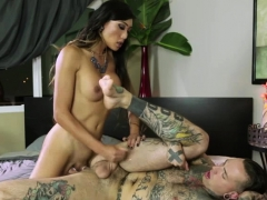 Busty Asian Tgirl Screws Tattooed Guys Ass