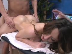Sexy babe plays with shlong then gets nailed hard