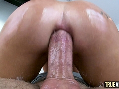 TRUE ANAL Rina Ellis has her ass stretched and creampied