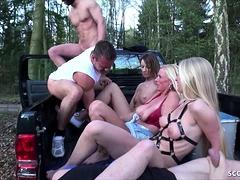 German DIRTY TINA and KACY KISHA in real Outdoor Group Sex