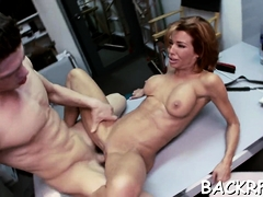 Redhead Veronica Avluv's lovebox stretched wide