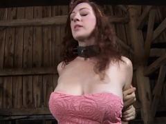 Exquisite busty girlfriend in heels strips and fucks herself