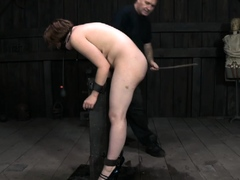 Lewd redhead hottie is riding a huge tool