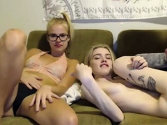Two cute horny teens in hardcore strapon threesome live at s