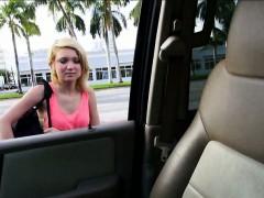 Stranded blonde teen Dakota Skye backseat fucking and facial