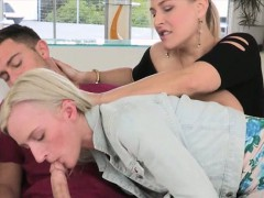 Mature Angel Allwood horny threesome sex on the couch