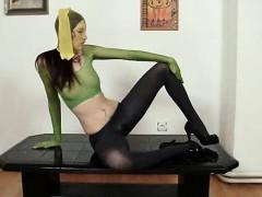 Beautiful body Kattie Gold wears nylon mask